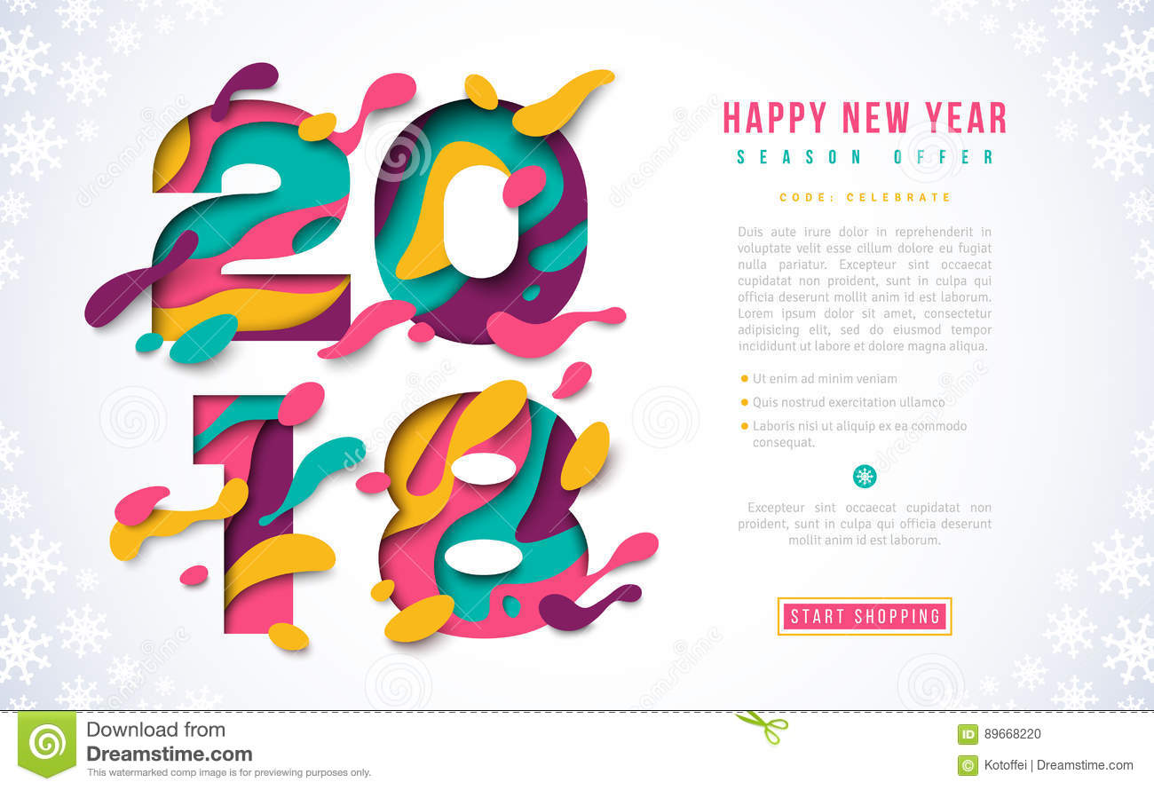 2018 happy new year banner template