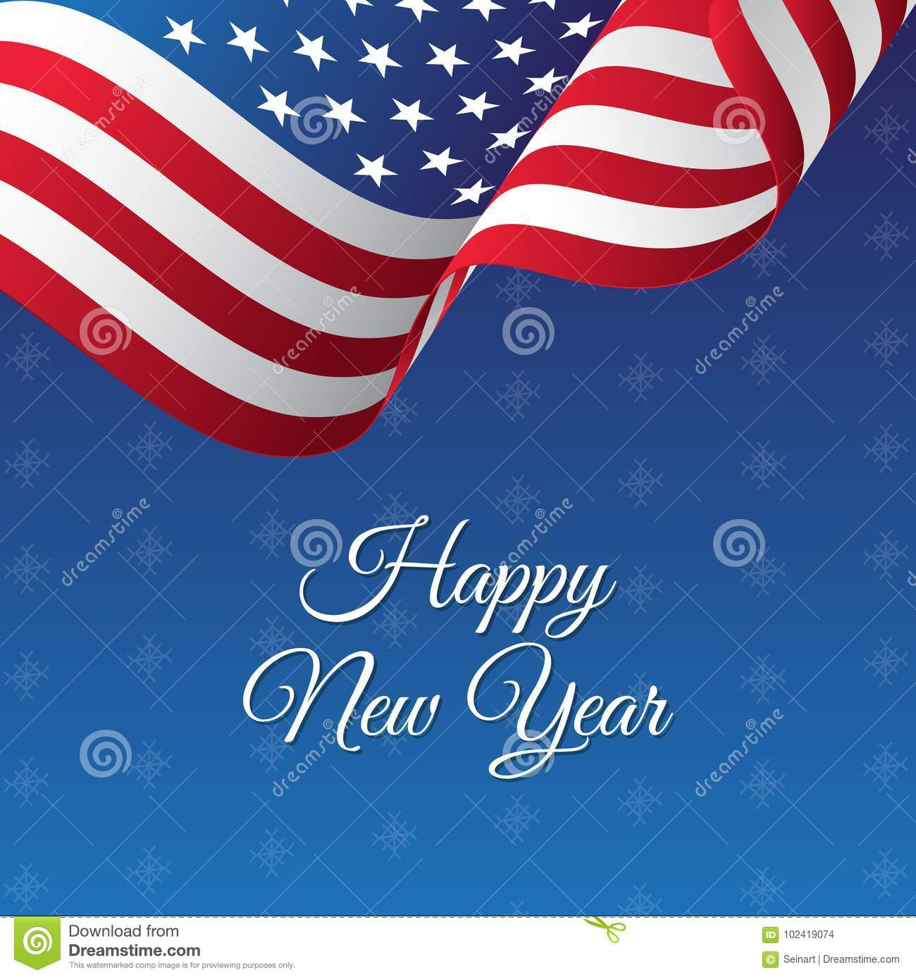 happy new year banner usa waving flag snowflakes background vector illustration