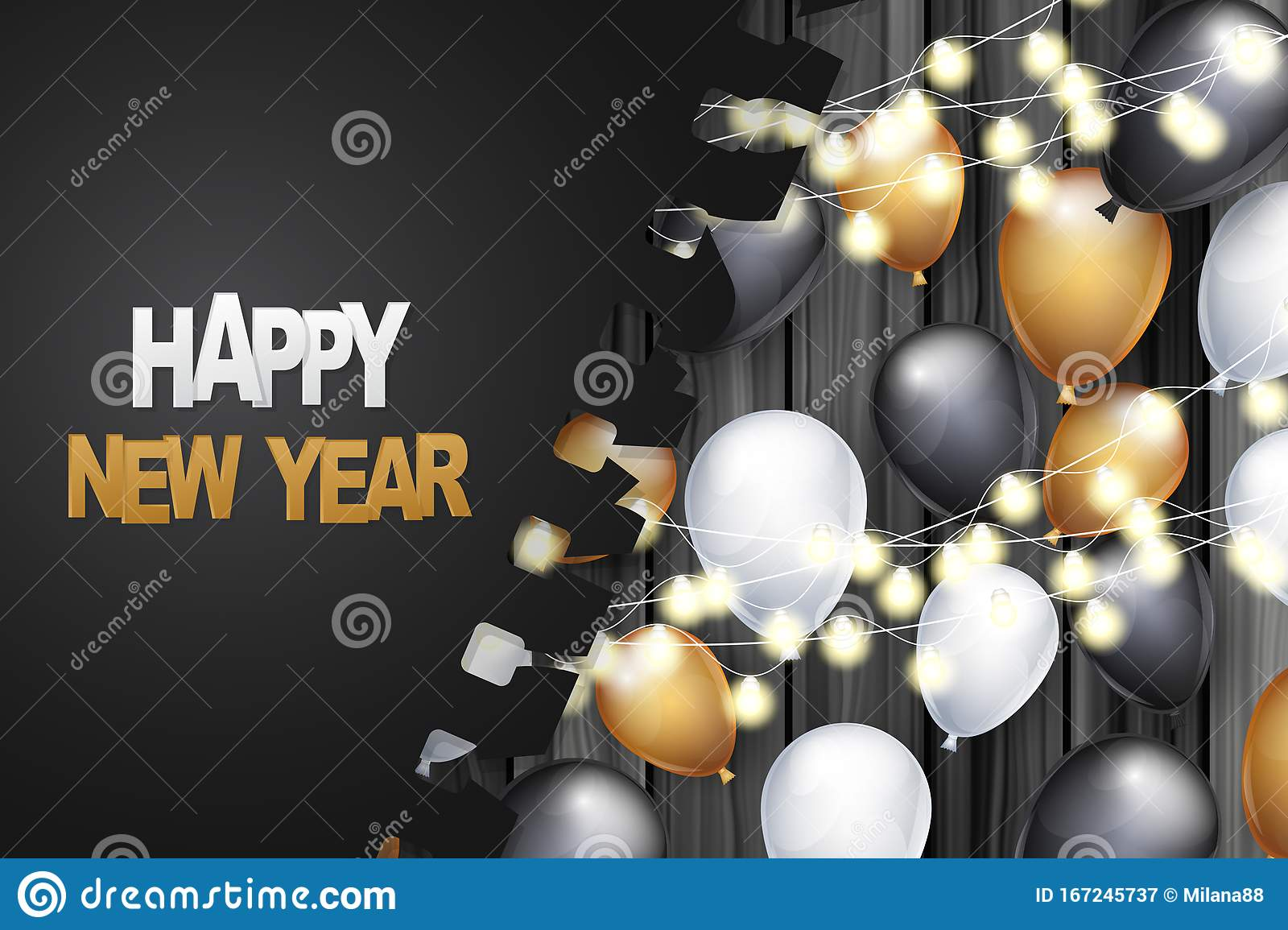 Happy New Year Banner Winter Holiday Celebration Design Concept With Golden Black And White Balloons Garland Lights Under Tor Stock Vector Illustration Of Christmas Background 167245737
