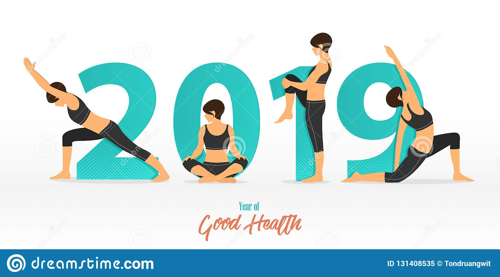 Happy New Year 2019 Banner With Yoga Poses Of Good Health