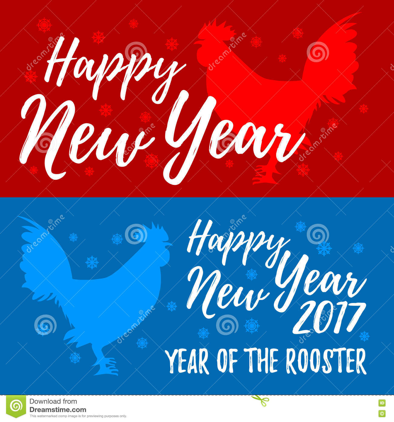 Happy New Year Banners Rooster Symbol Of 2017 On The Chinese C