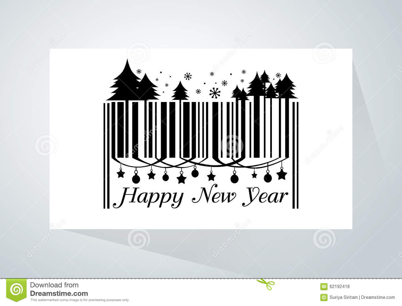 Happy new year barcode stock vector. Illustration of goods - 62192418