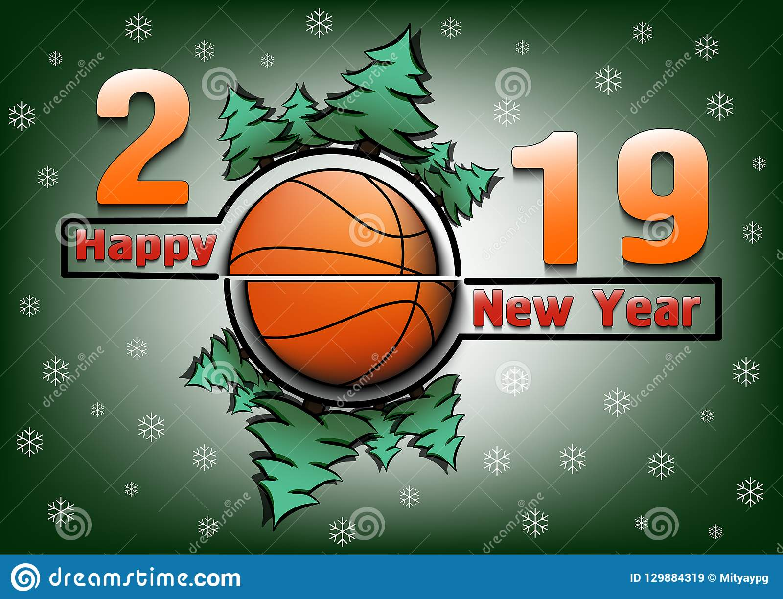 happy new year 2019 and basketball with christmas trees on an snowflakes background creative design pattern for greeting card banner poster flyer