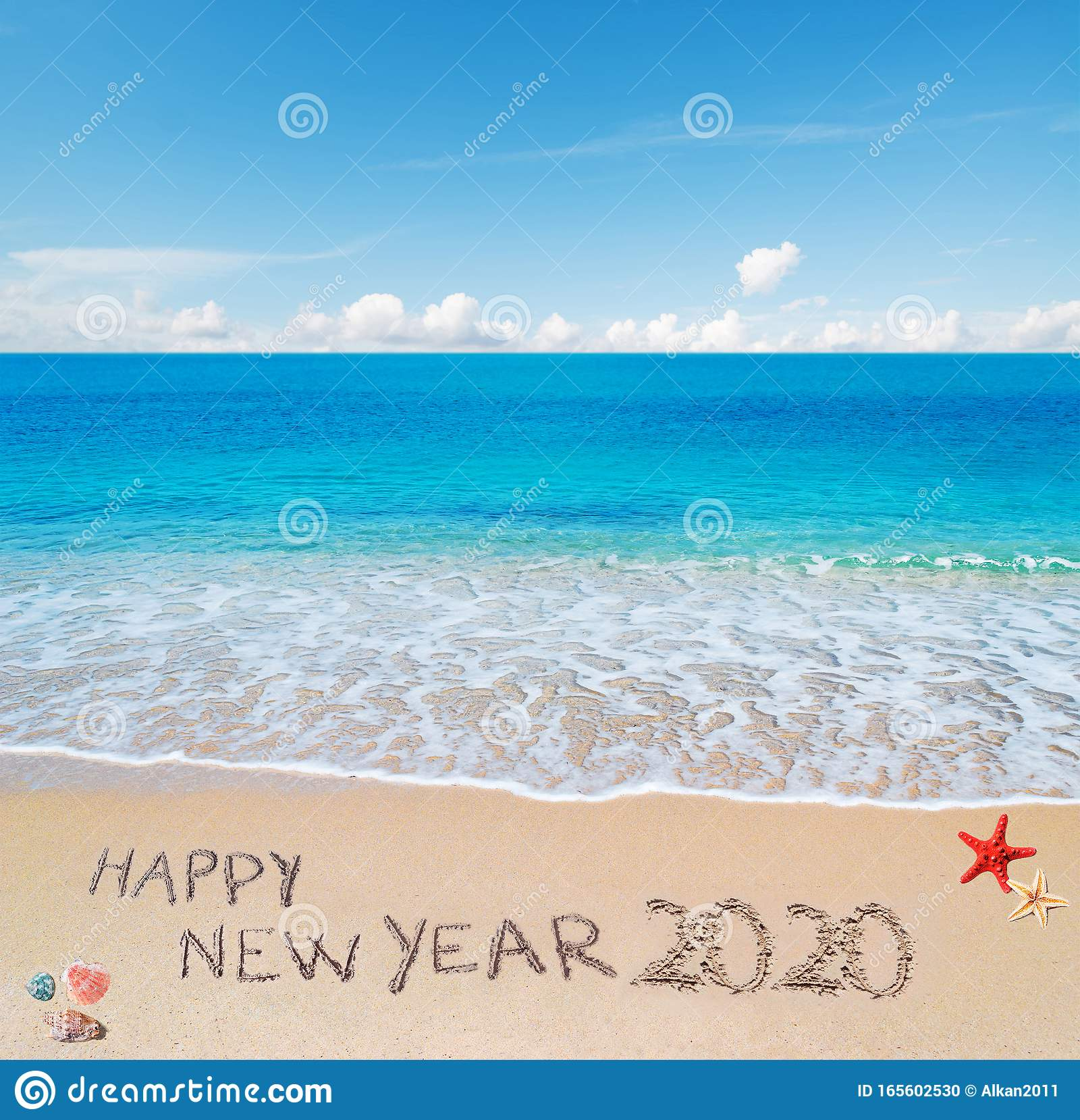 Happy New Year 2020 At The Beach Stock Photo Image Of Blue