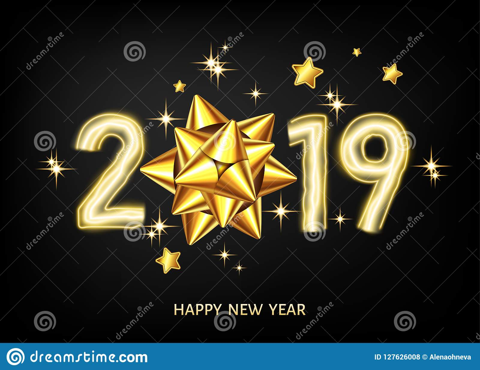 2019 happy new year black background with golden gift bow