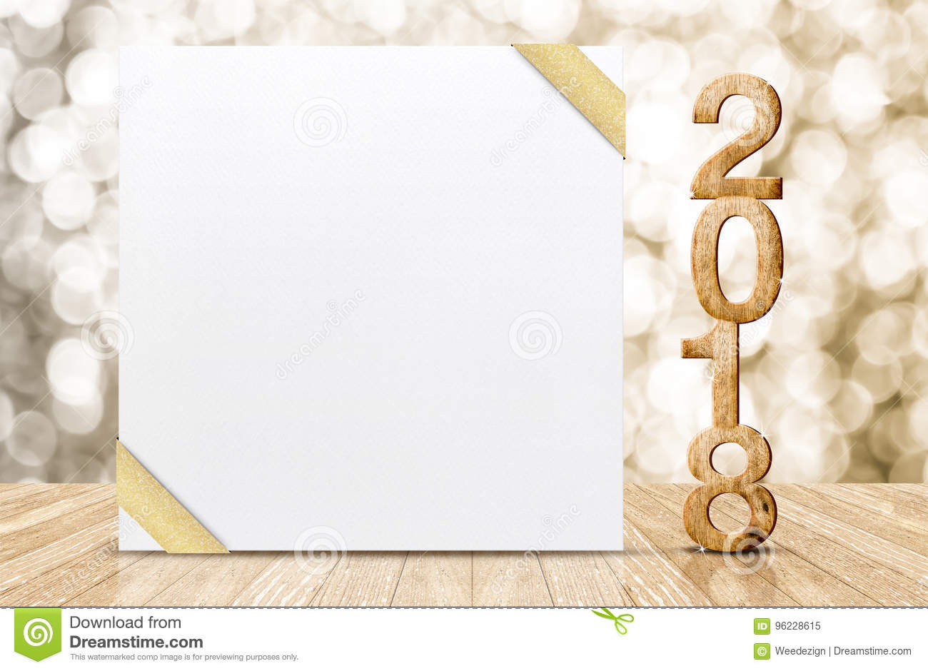 Happy New Year 2018 With Blank White Greeting Card With Gold Rib ...