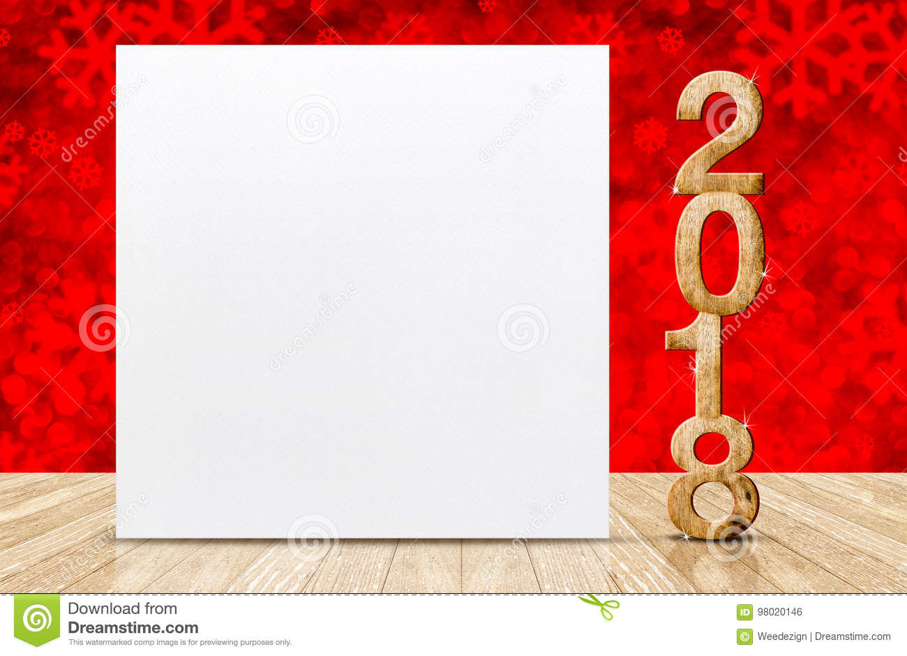 Happy new year 2018 with blank white greeting card in perspective room at sparkling red snowflakes bokeh wall and wooden plank fl