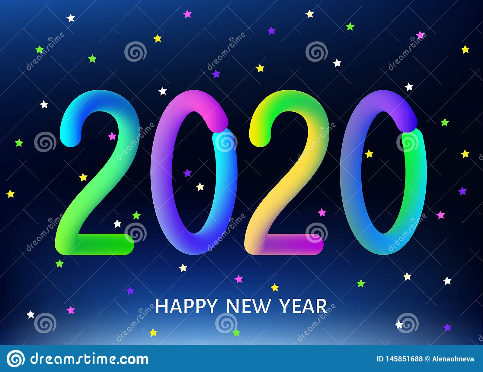 2020 Happy New Year Blue Background With Multicolored ...