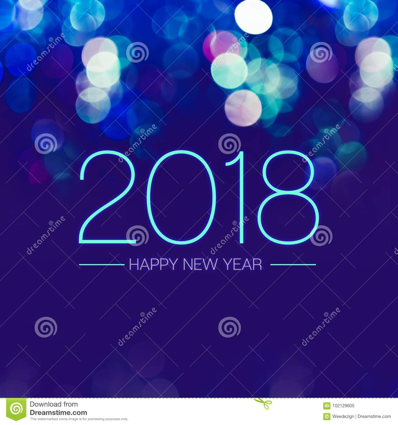 Happy new year 2018 with blue bokeh light sparkling on dark blue