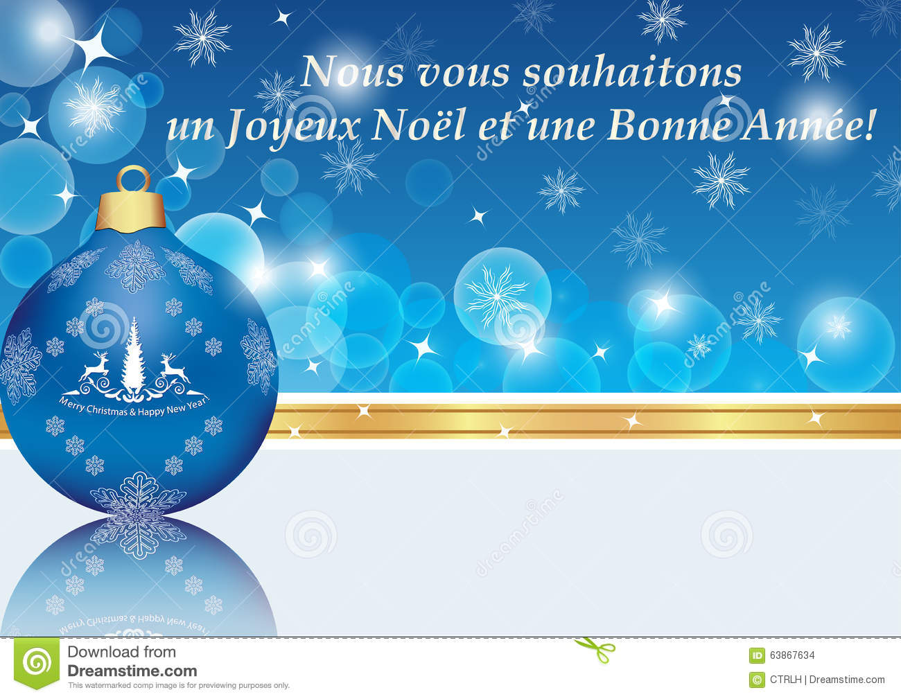 Happy New Year Blue Greeting Card In French Stock Illustration