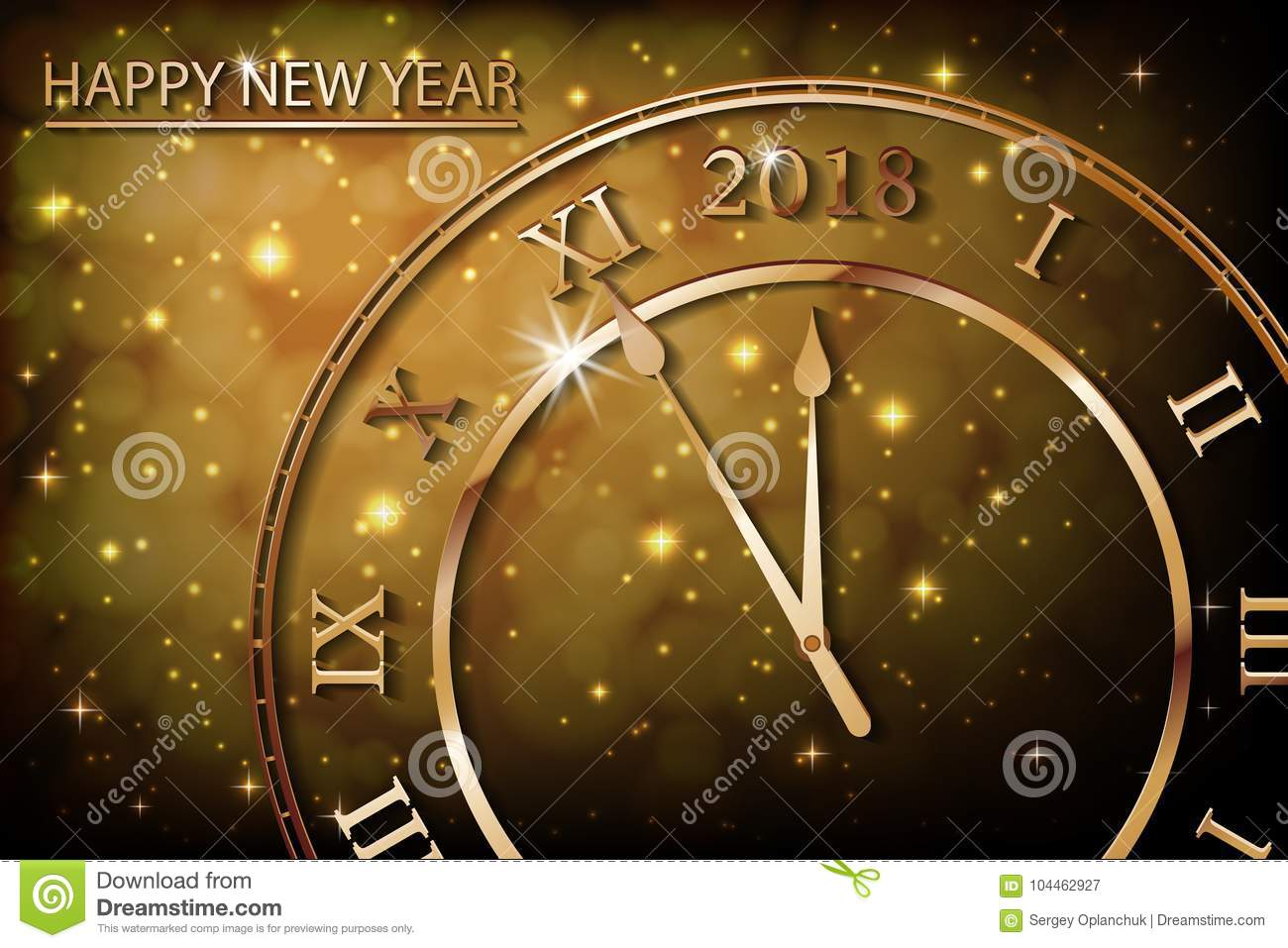 happy new 2018 year with bokeh and lens flare pattern in vintage color style background