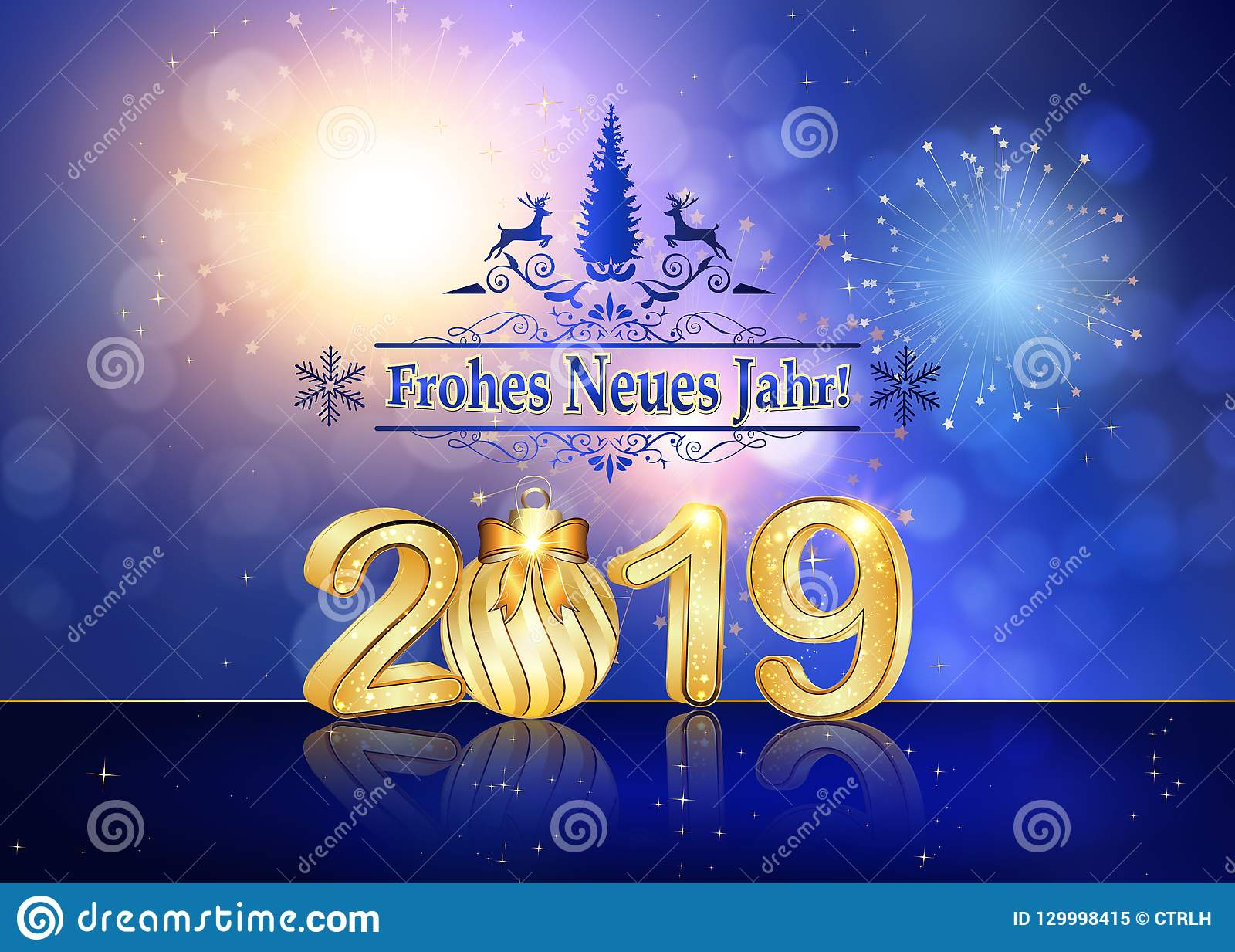 happy new year 2019 written in german seasons greeting card