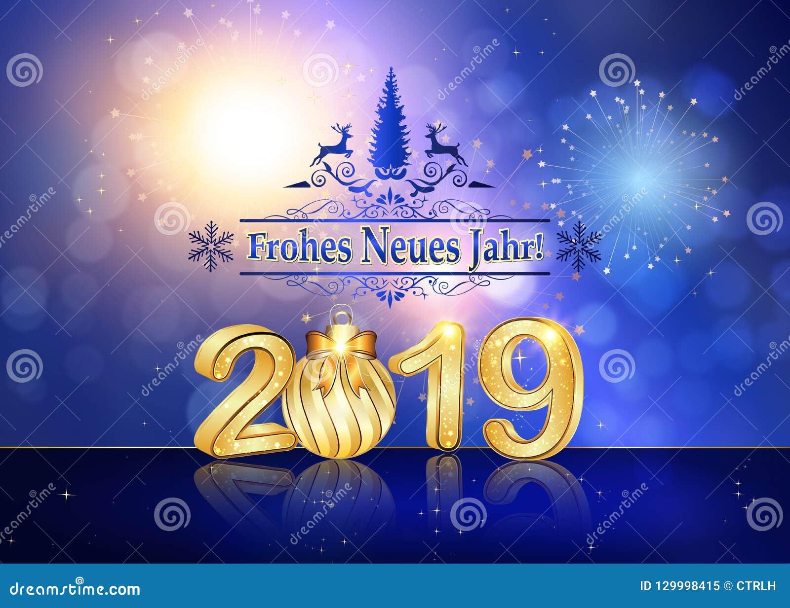 happy new year 2019 written in german seasons greeting card