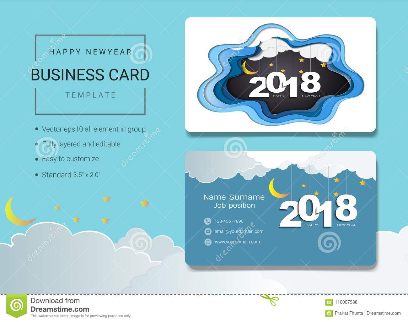 2018 Happy New Year Business Card Or Name Card Template Stock