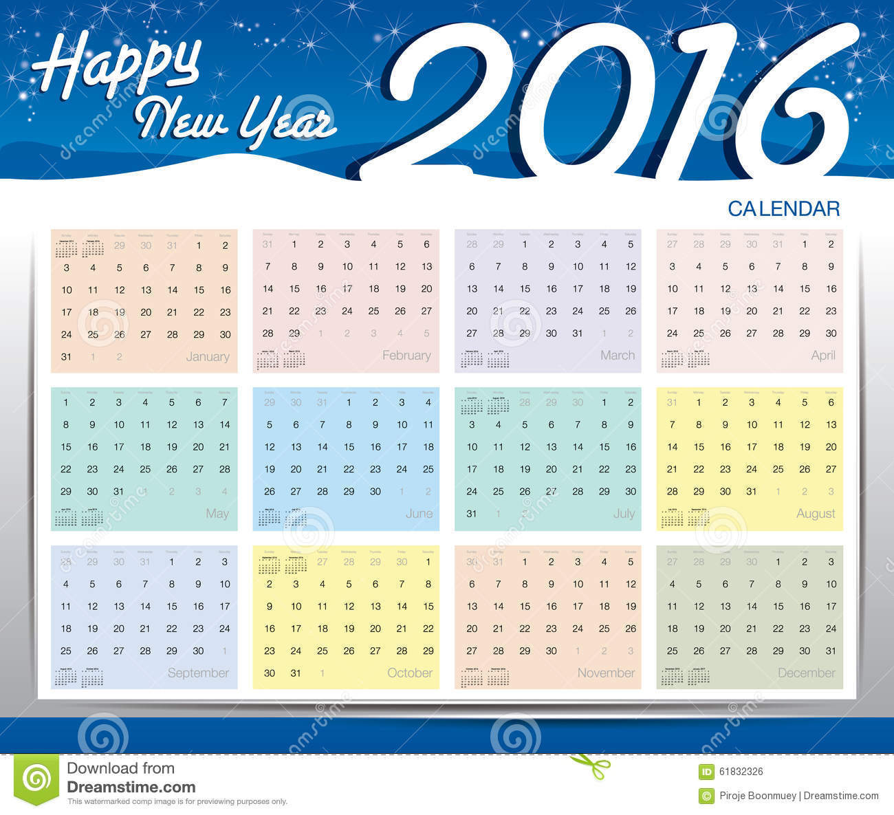 Happy New Year Calendar : Happy new year calendar stock vector image