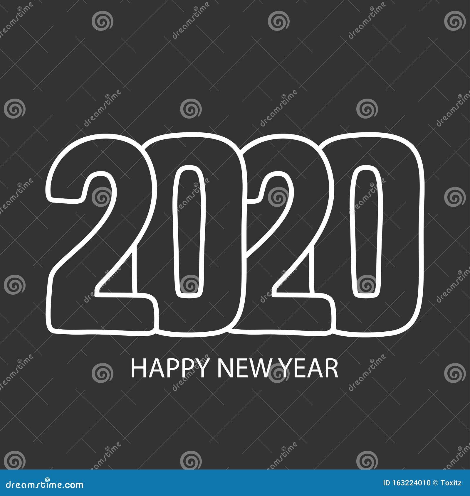 Happy New Year 2020. Calendar Cover, Brochure Design, Card