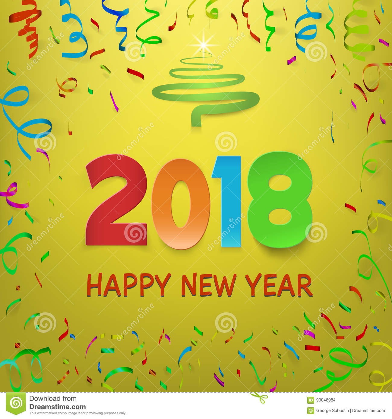 Happy New Year 2018 Calendar Template Colorful Fold Paper Numbers