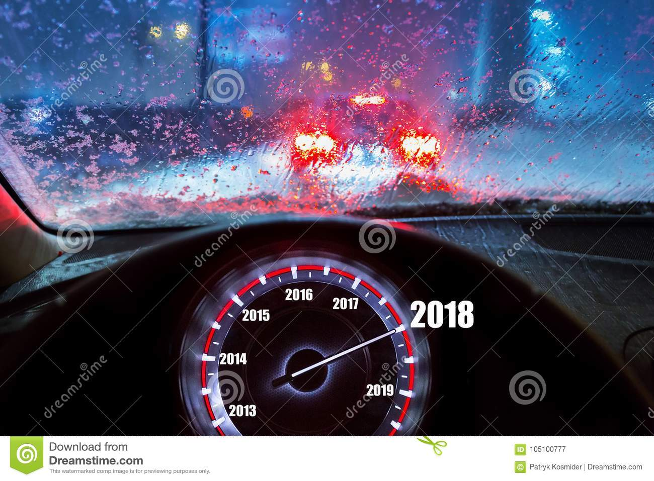 New Year 2018 in the car