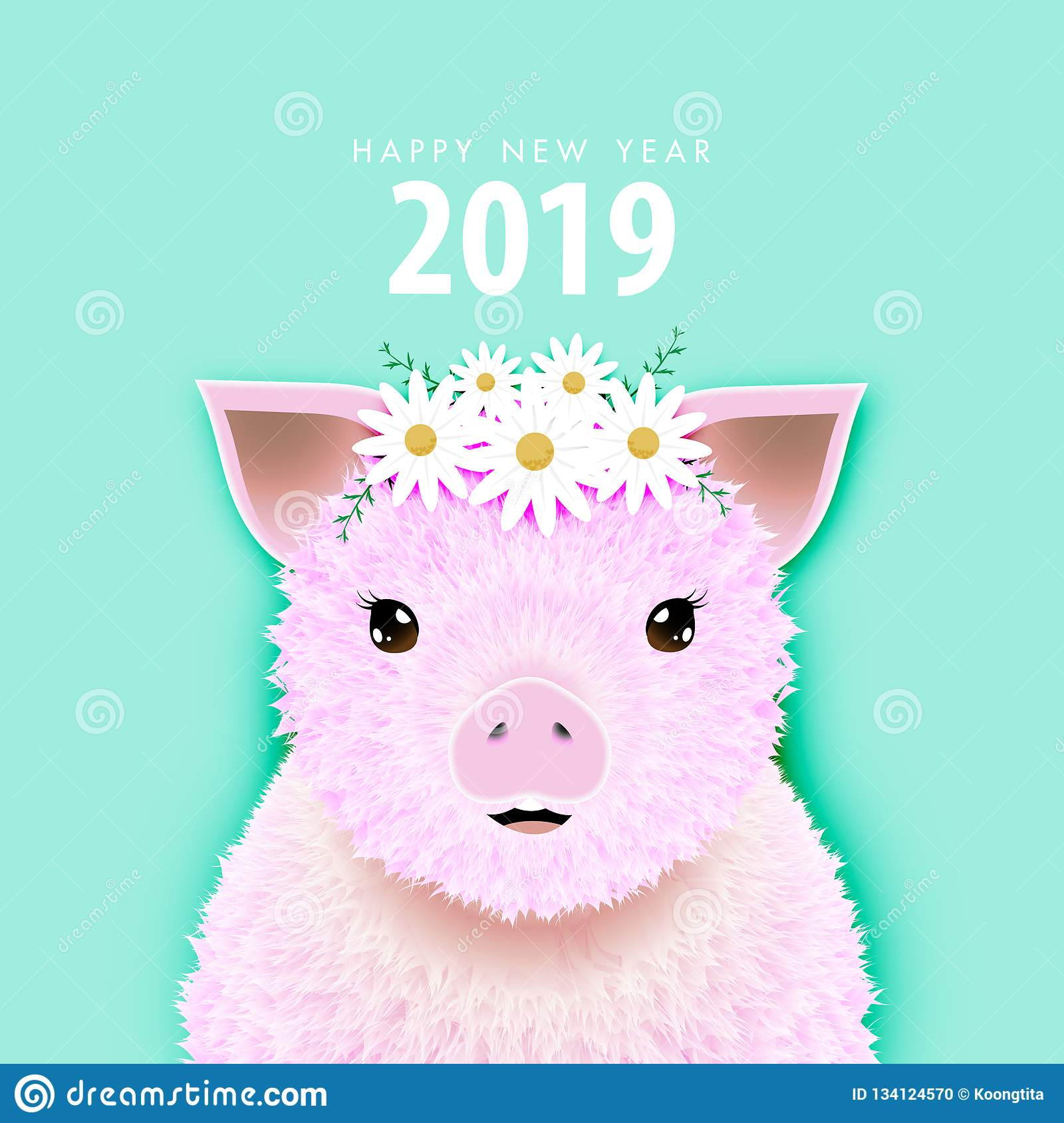 Happy New Year 2019 Card Or Banner With Pink Hairy Pig ...