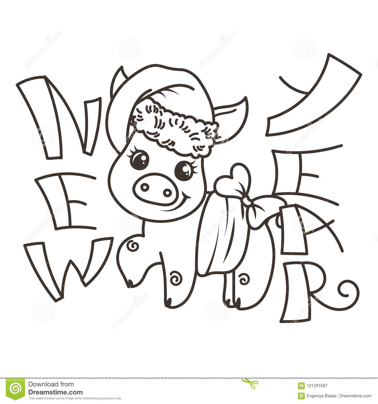 Happy new 2019 year card with cartoon baby pig in santa hat small vector symbol of holiday coloring page