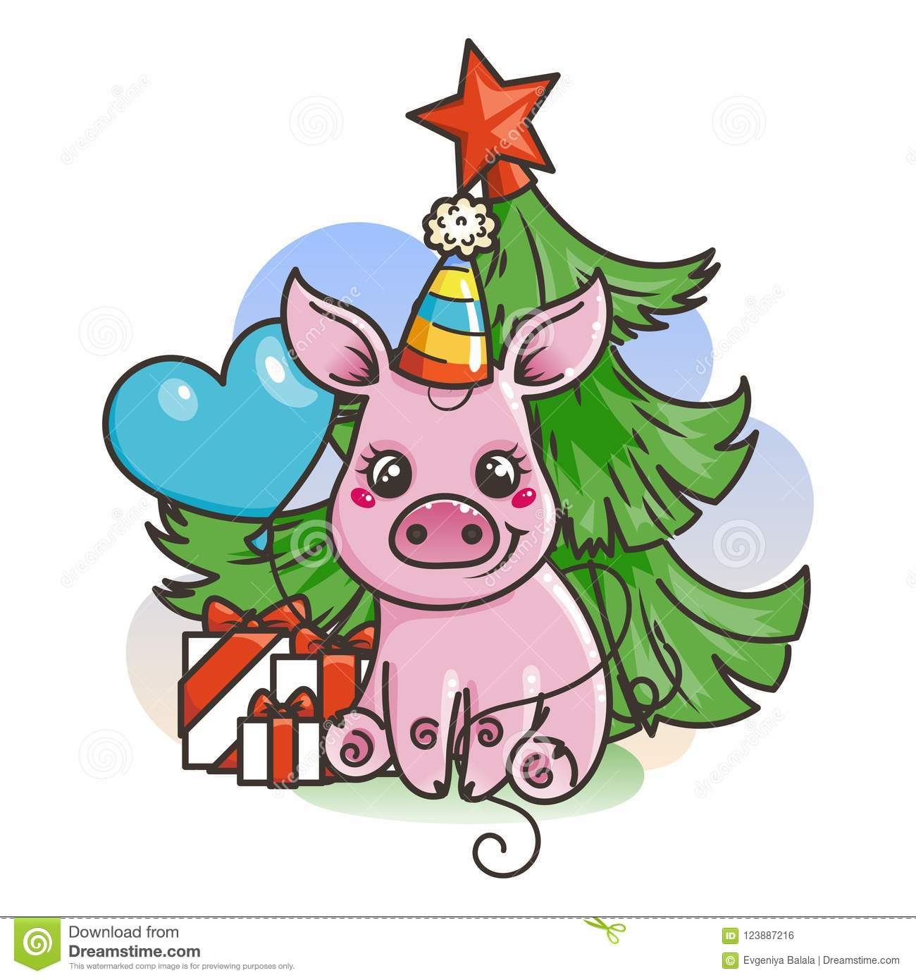 Happy New 2019 Year Card With Cartoon Baby Pig Small Symbol Of