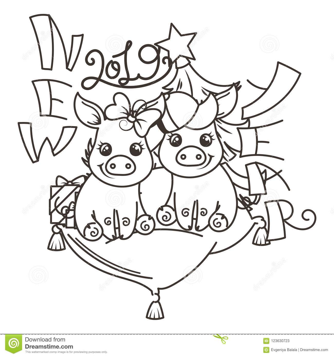 Happy new 2019 year card with cartoon baby pig small vector symbol of holiday coloring page
