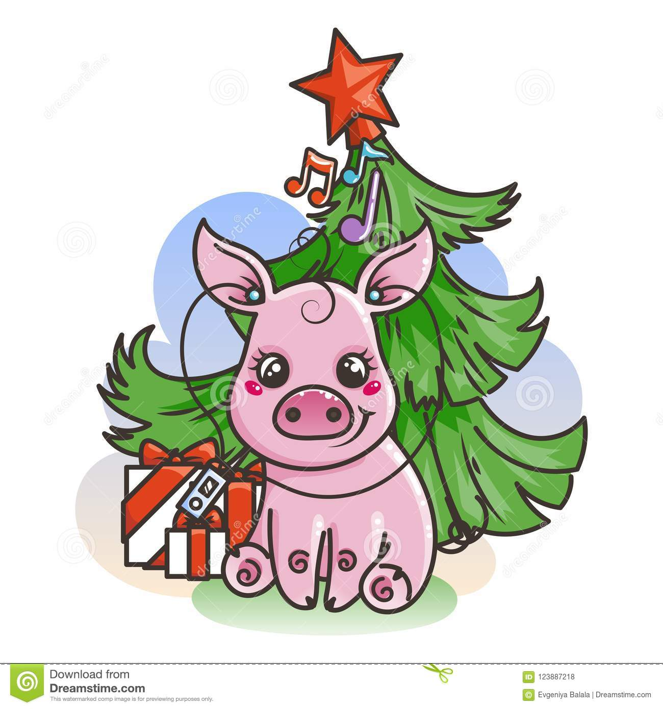 happy new 2019 year card with cartoon baby pig small symbol of holiday