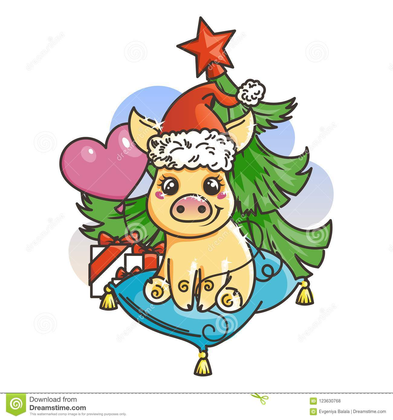 happy new 2019 year card with cartoon golden baby pig small symbol of holiday