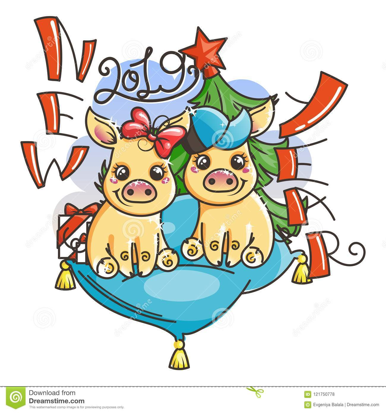 Happy New 2019 Year Card With Cartoon Golden Baby Pigs Small