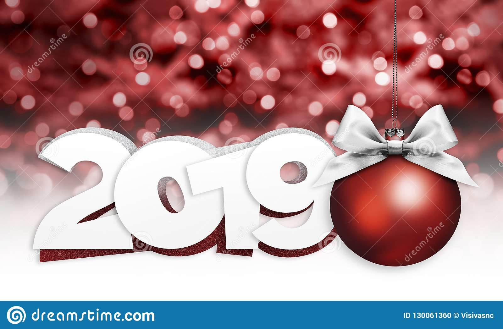 Christmas Graphics 2019.Happy New Year Card With Christmas Red Ball And 2019 Text