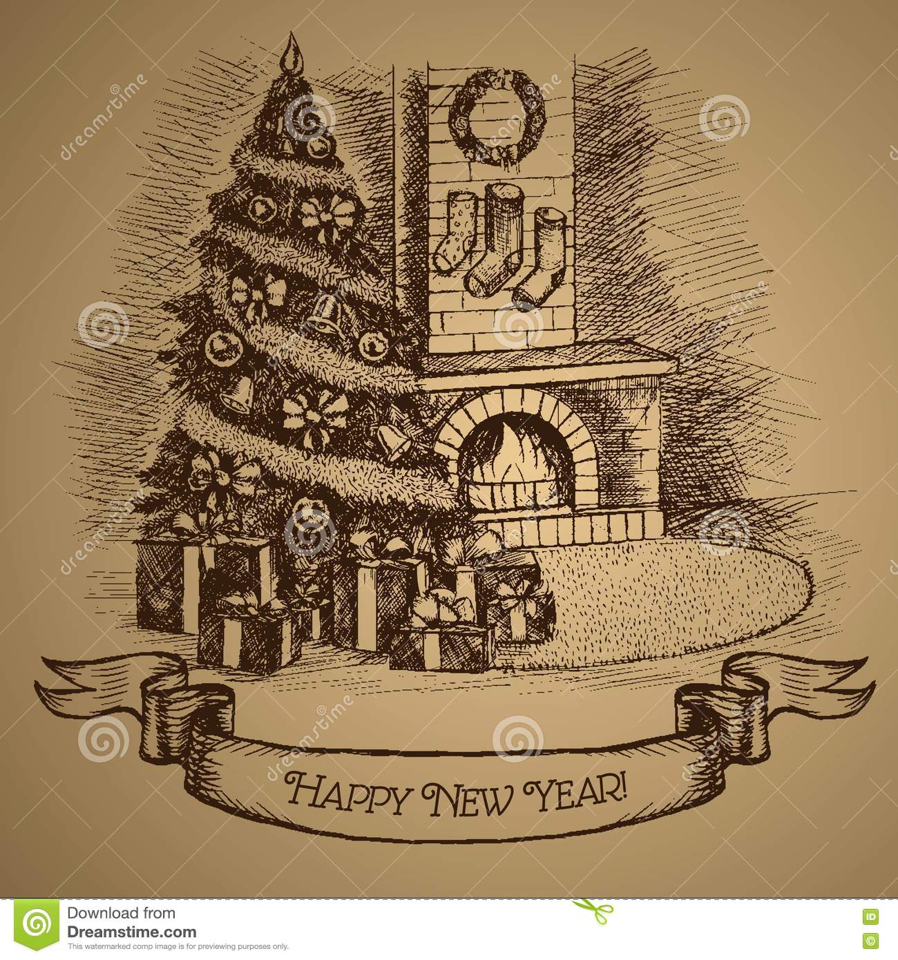 happy new year card christmas tree and fireplace