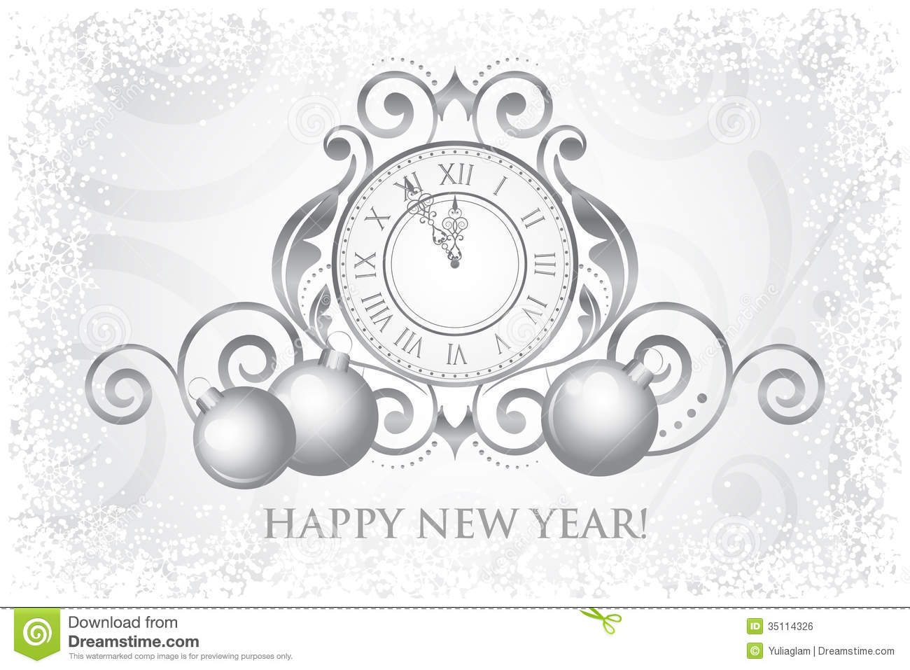 happy new year card with clock and decorations