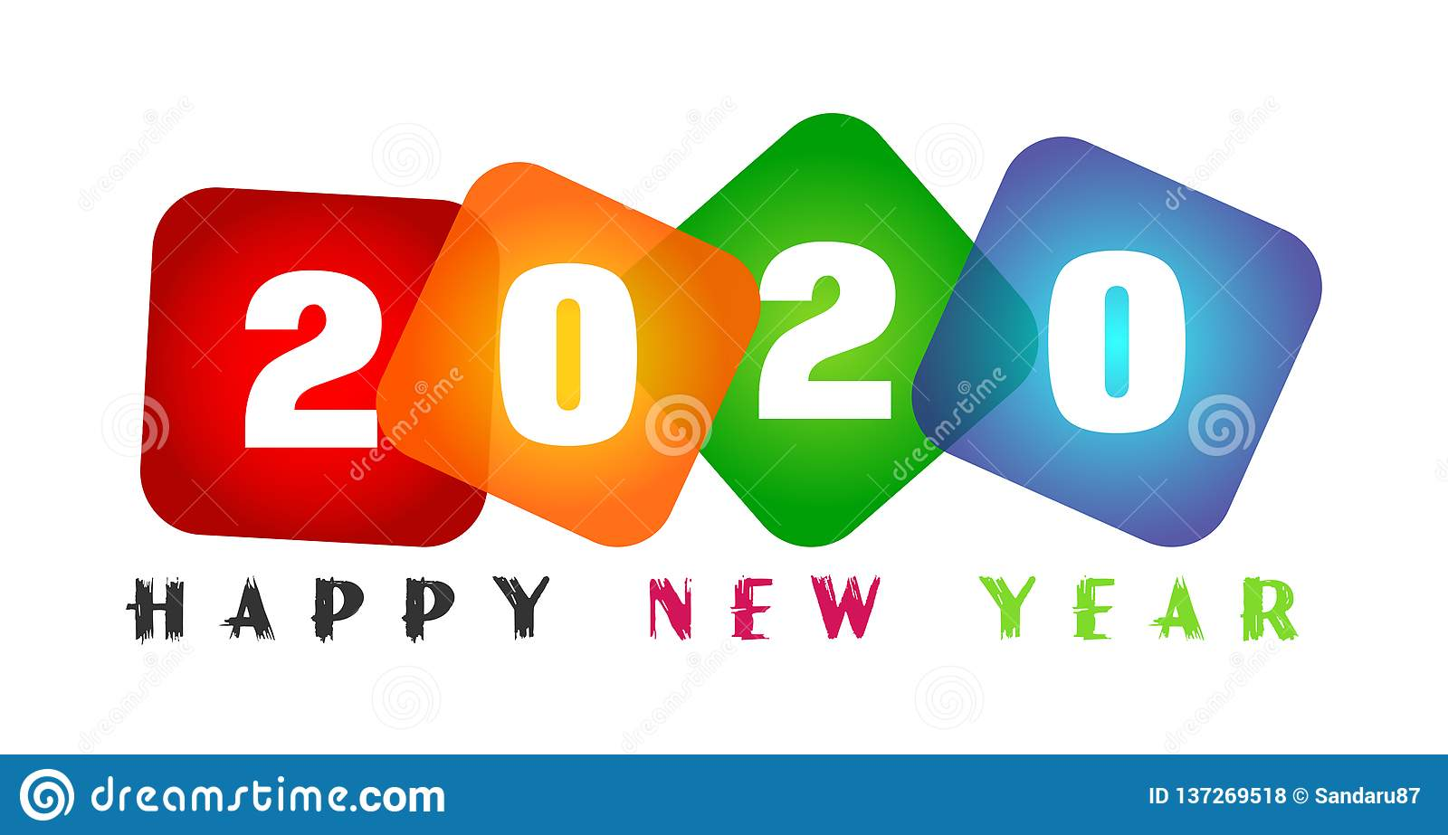 Happy New Year 2020 card and colorful greeting text design in colored on white background