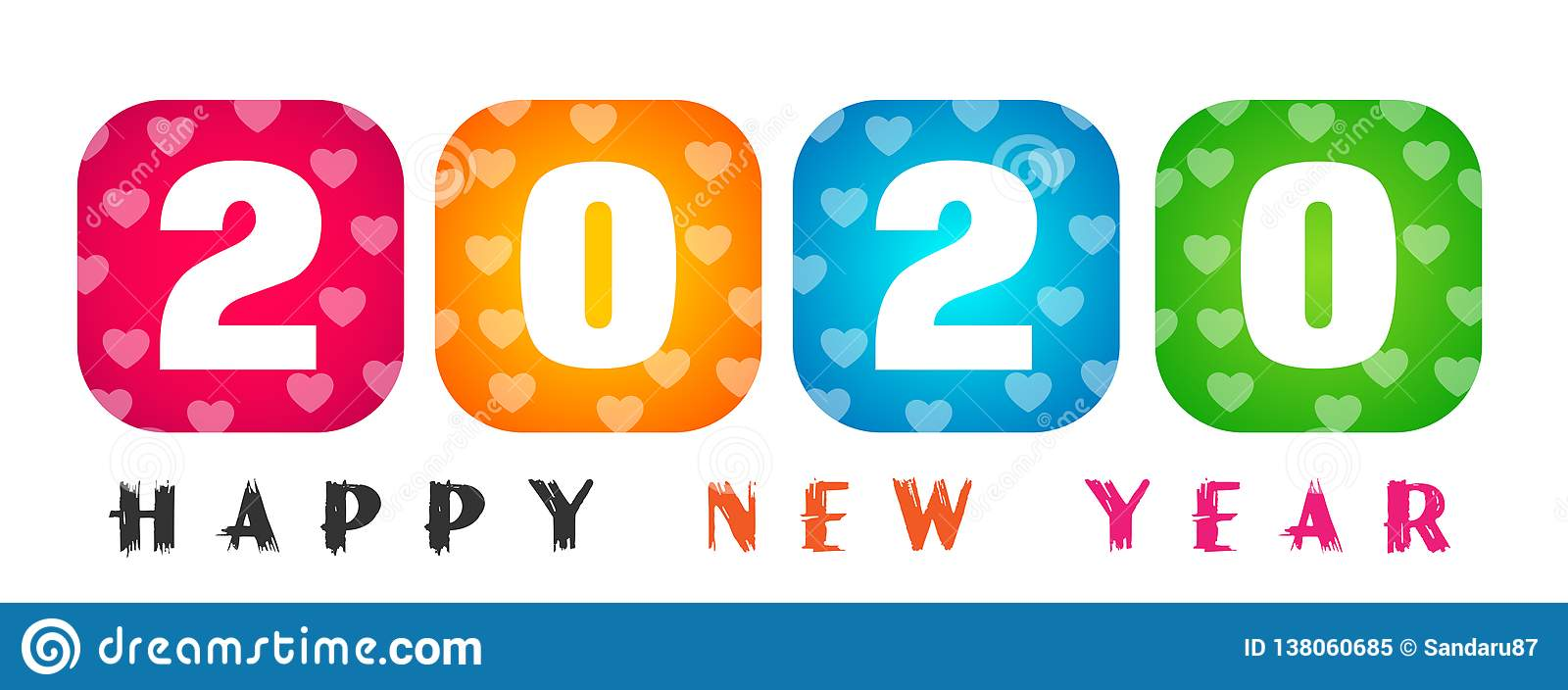 Happy New Year Clipart 2020.Happy New Year 2020 Card And Colorful Greeting Text Design