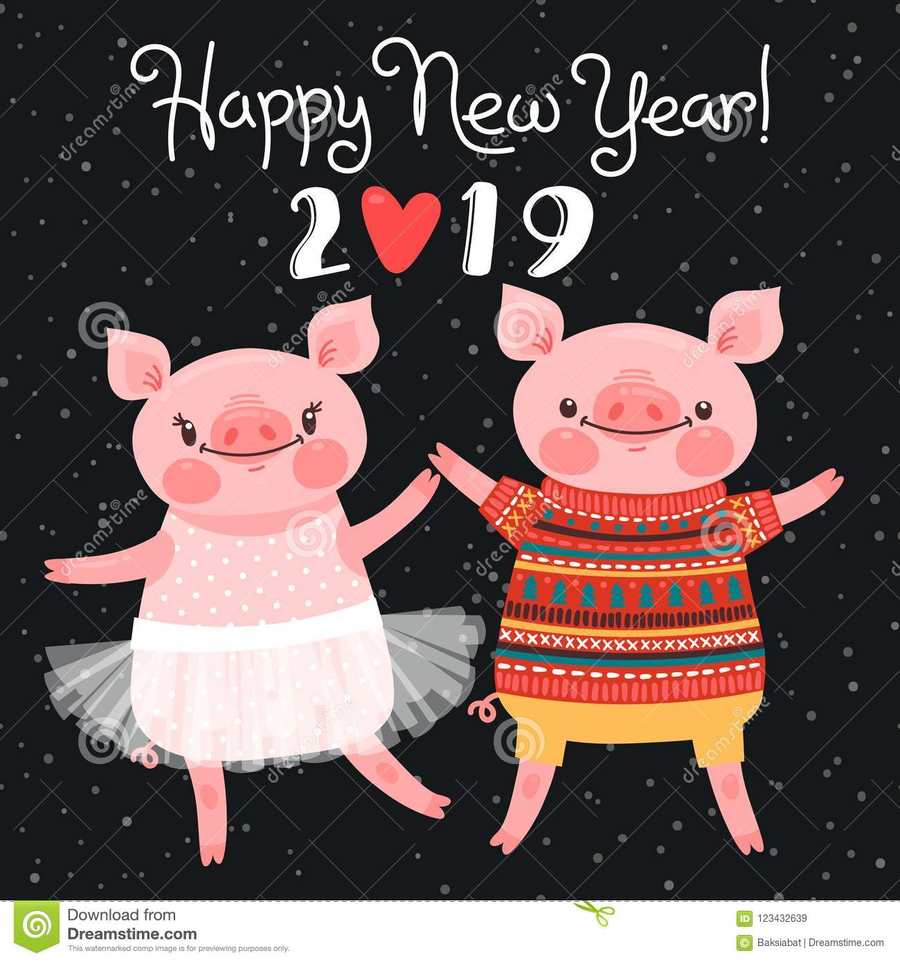 happy 2019 new year card couple of funny piglets congratulate on the holiday pig