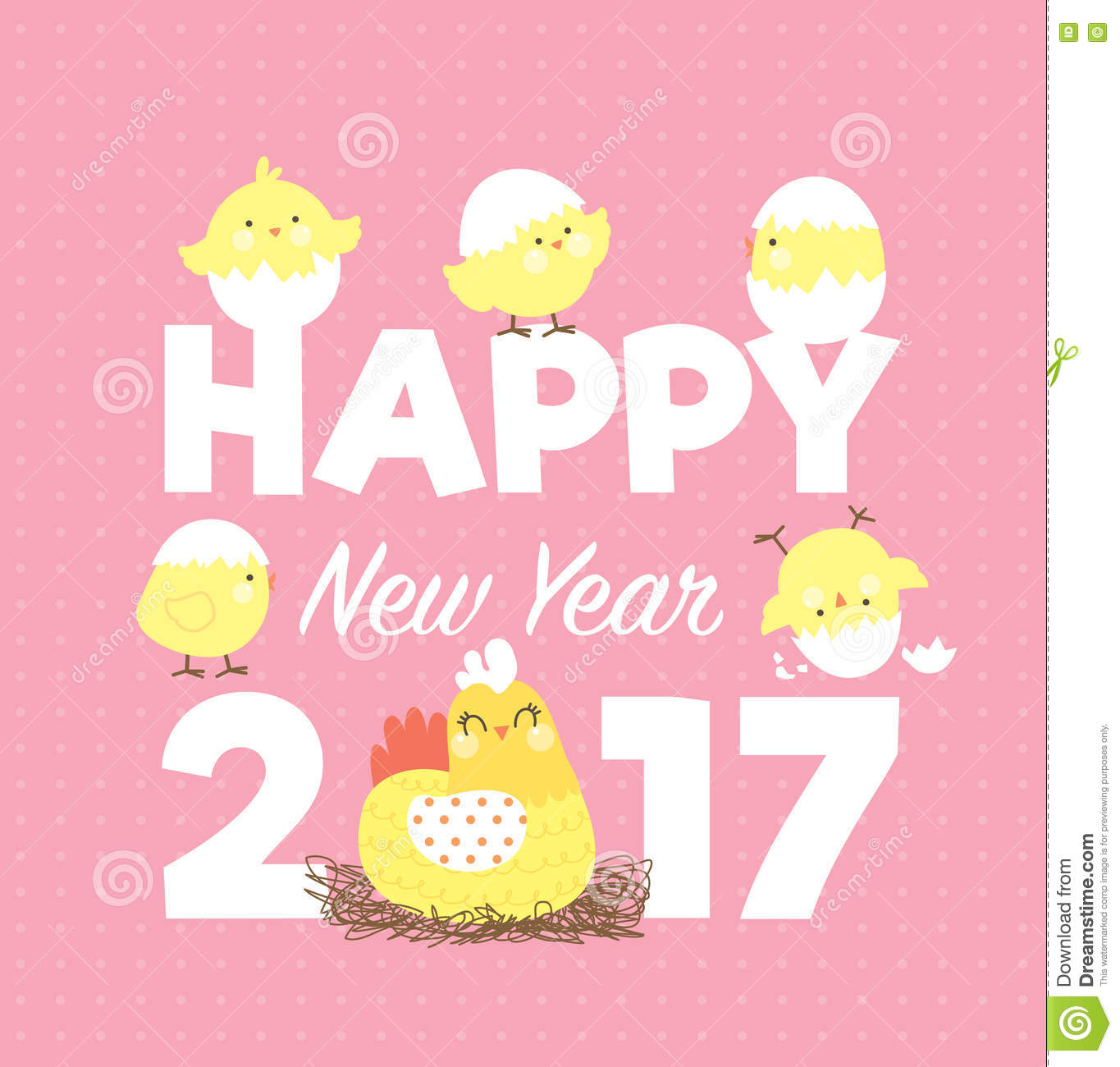 2017 new year card with cute little chicks and hen