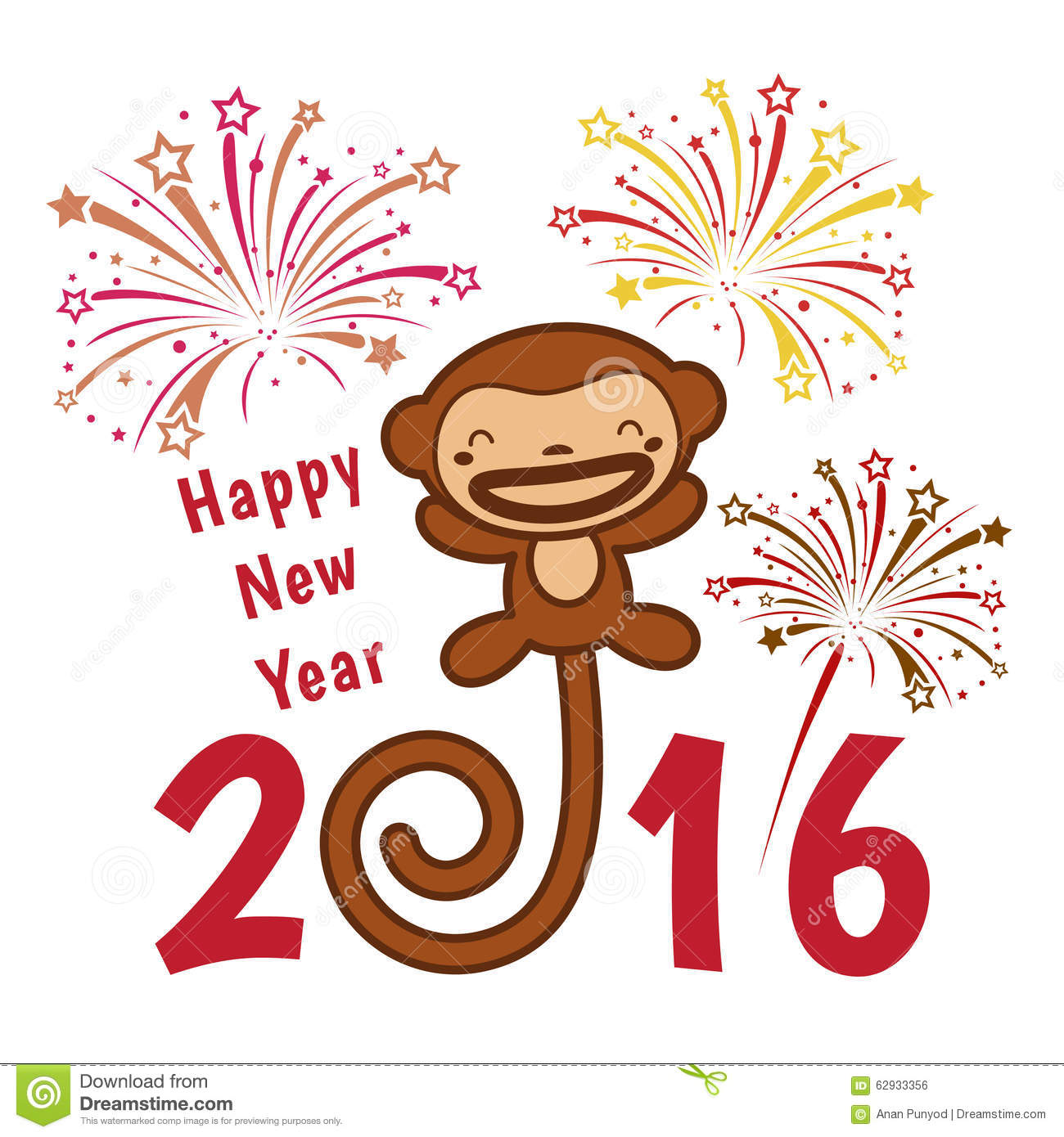 Happy New Year 2016 Card Is Cute Monkey And Firework Stock Vector ...