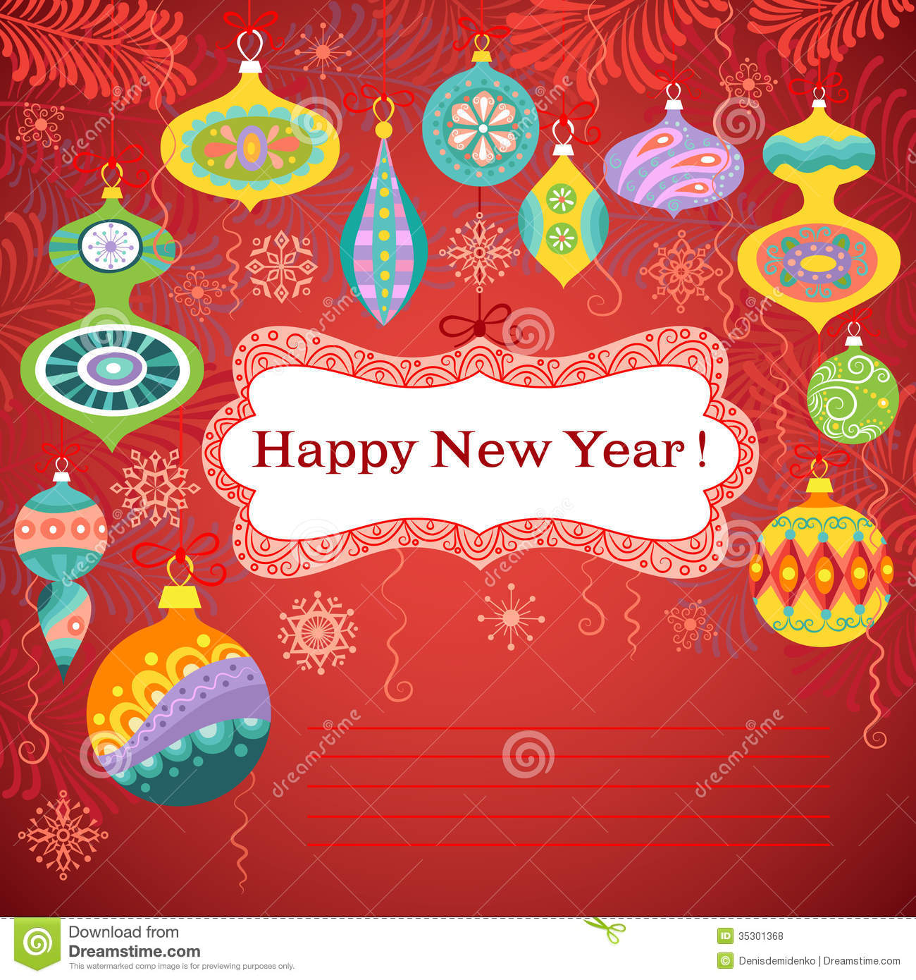 Happy New Year card stock vector. Illustration of frame ...