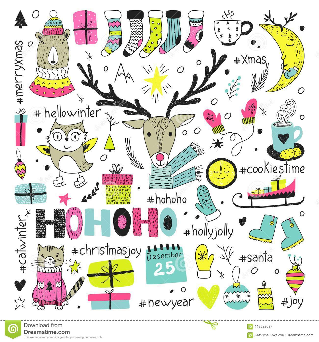 Hand Draw Collection Of Christmas Doodle Elements Stock Vector