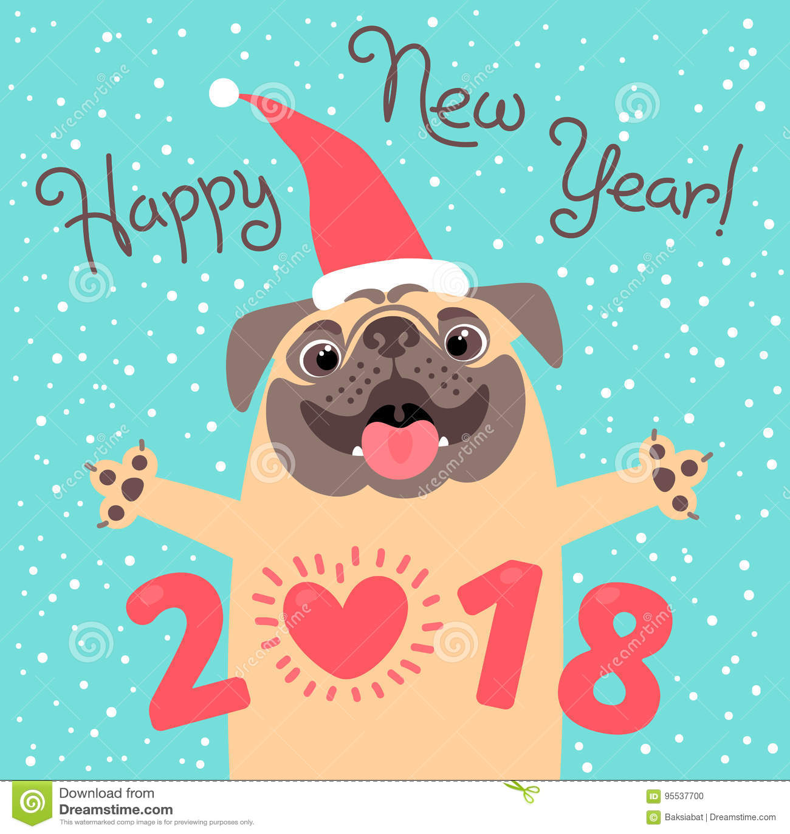 Happy 2018 New Year Card. Funny Pug Congratulates On ...