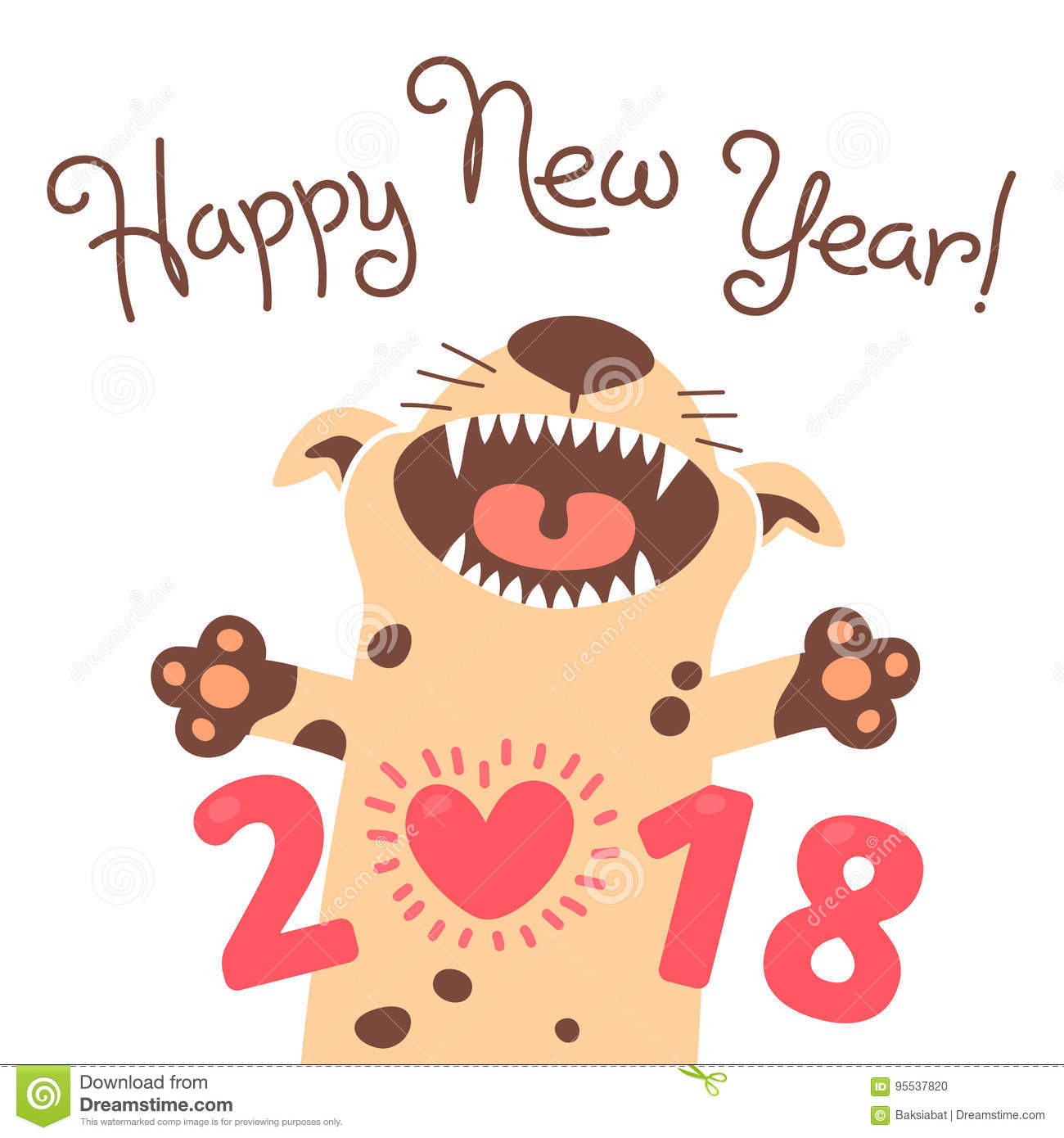 happy 2018 new year card funny puppy congratulates on holiday dog chinese zodiac symbol of the year vector illustration