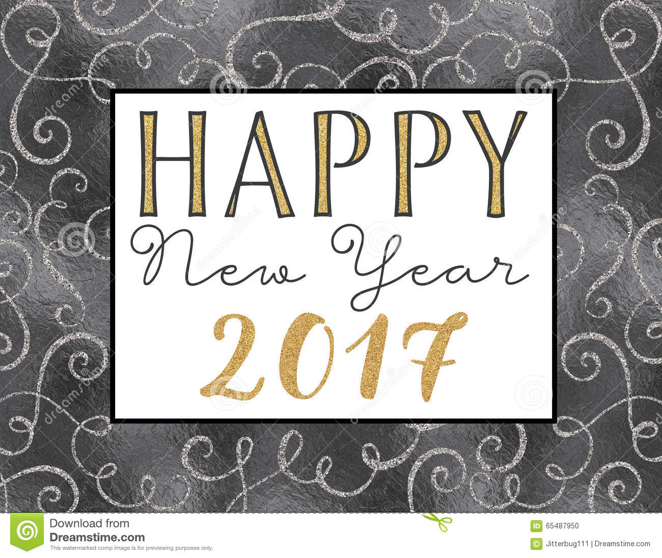 Happy New Year 2017 card with gold and silver glitter and foil texture ...
