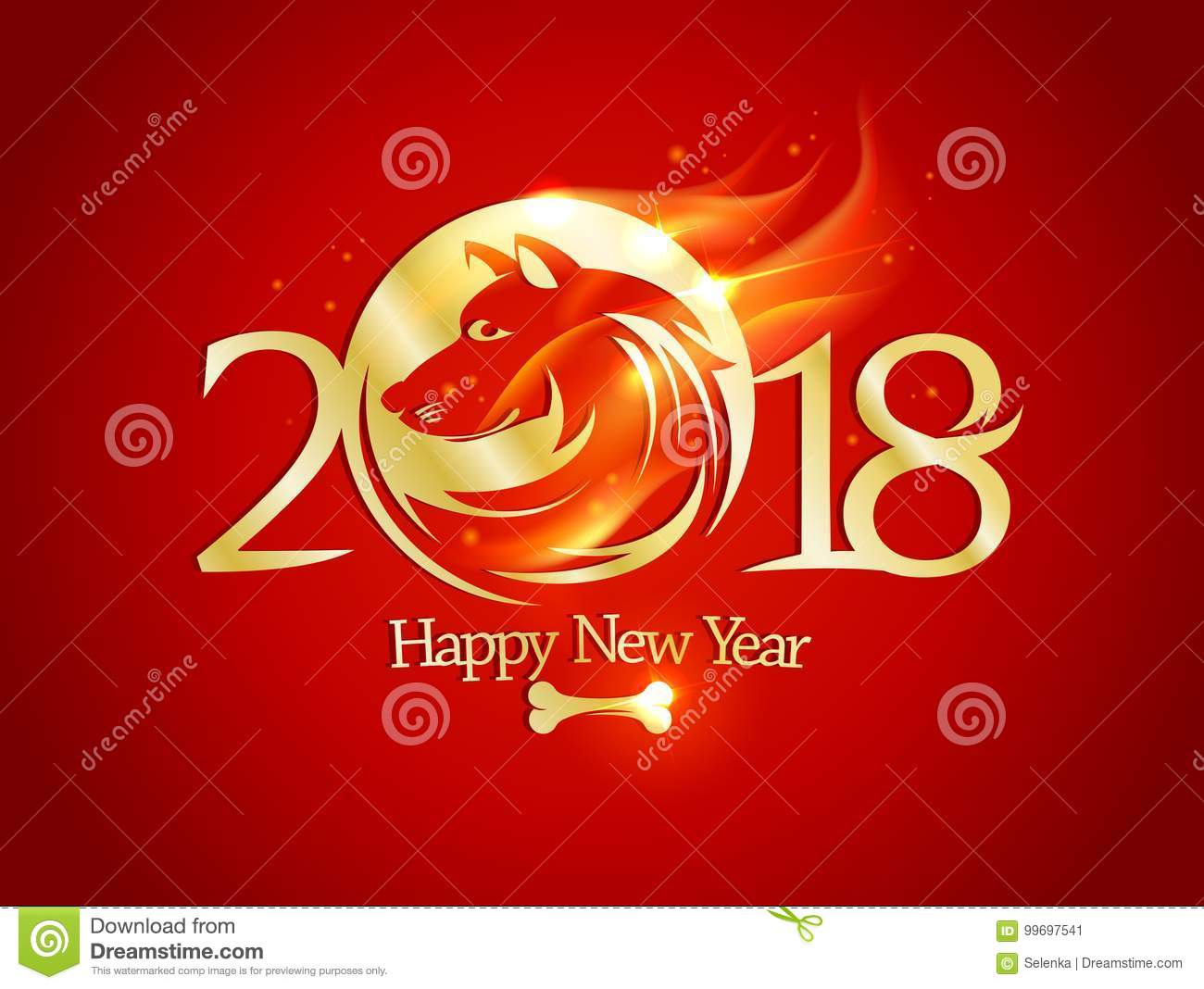 2018 happy new year card with golden dog