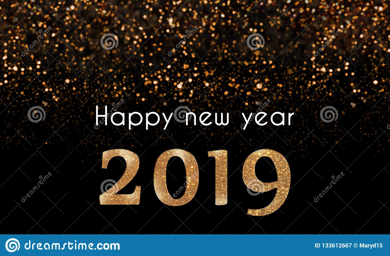 2019 happy new year card with golden sparkling glitter falling on 2019 numbers
