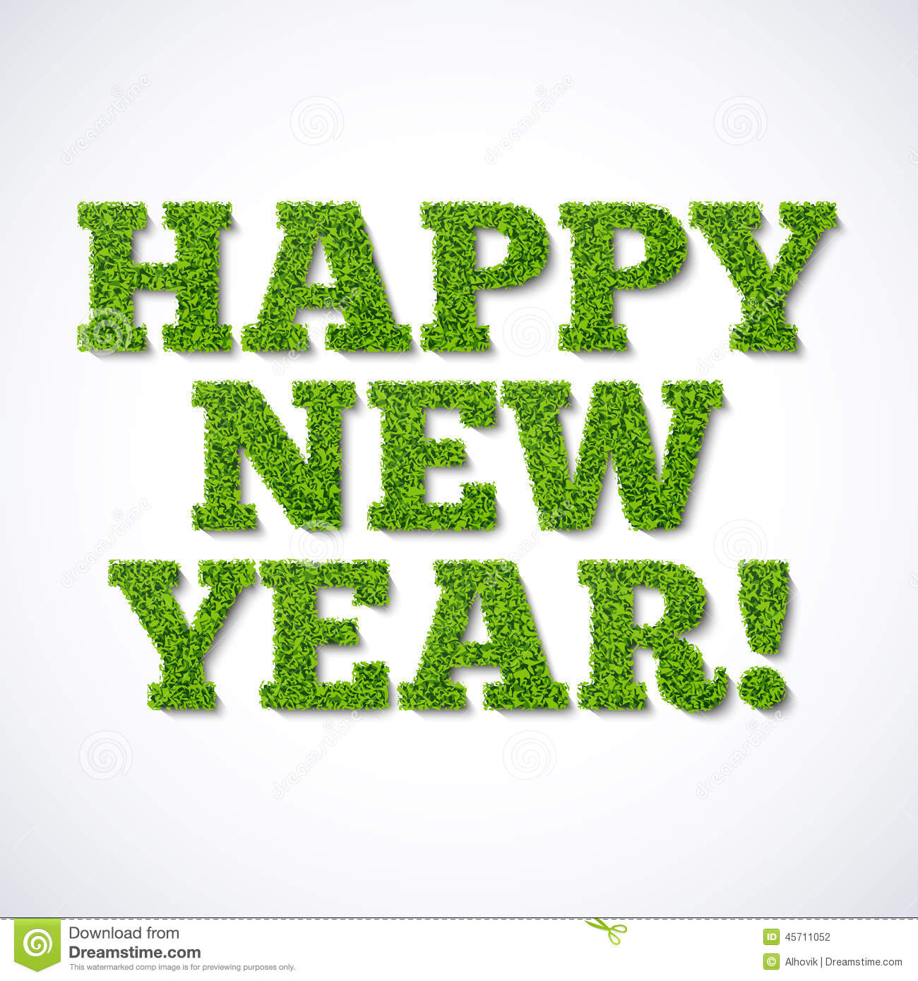 happy new year card green grass