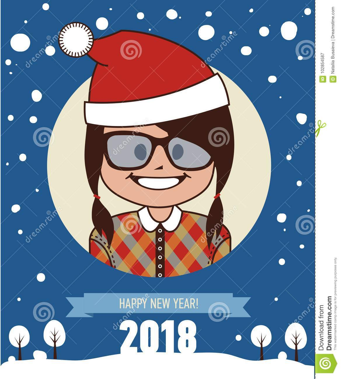 happy new year 2018 card greeting card with santa clause girl young girl in