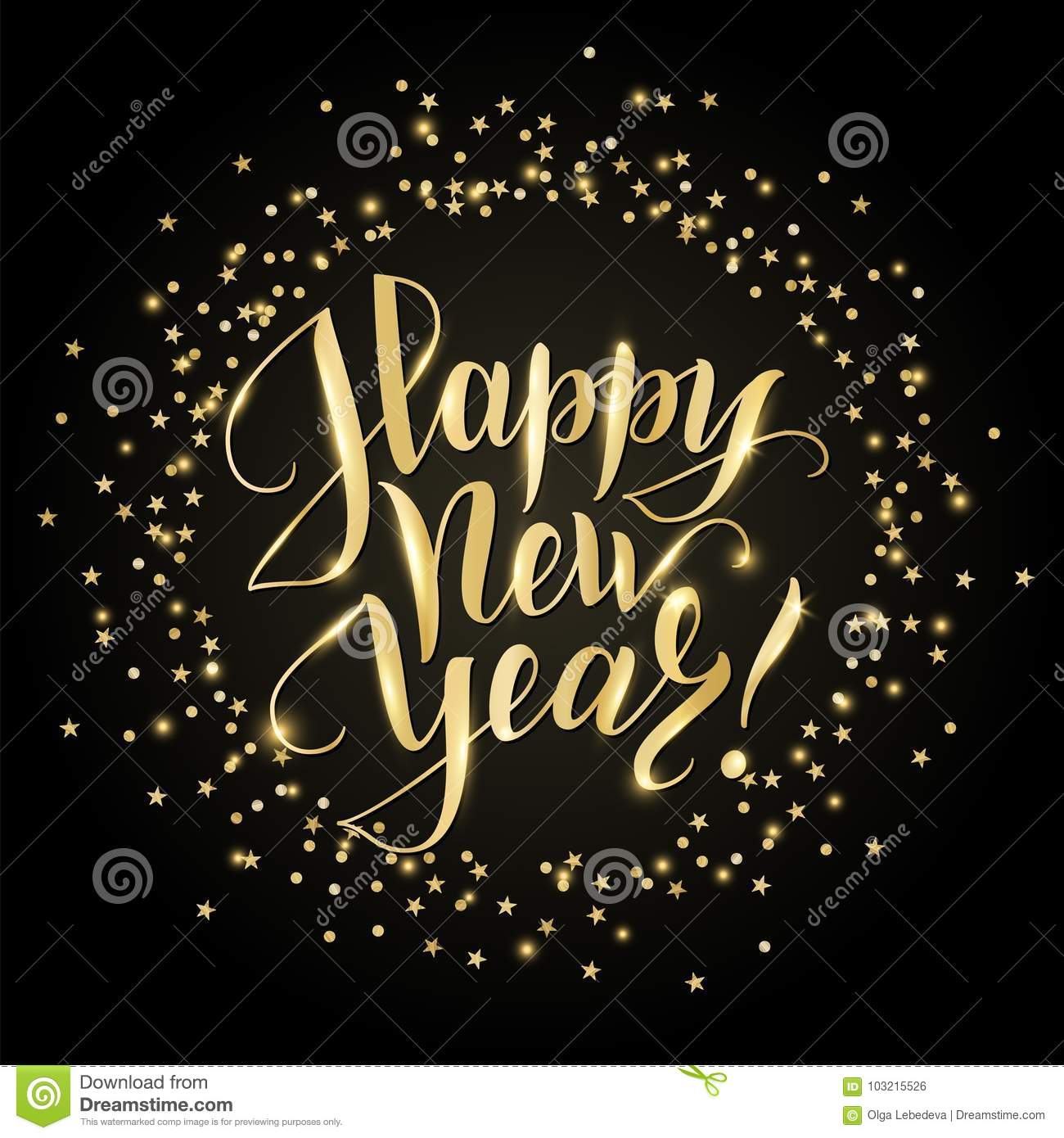 happy new year card with hand written lettering golden glitter border falling confetti on
