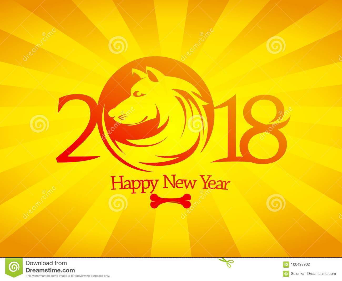 2018 happy new year card or invitation card design concept