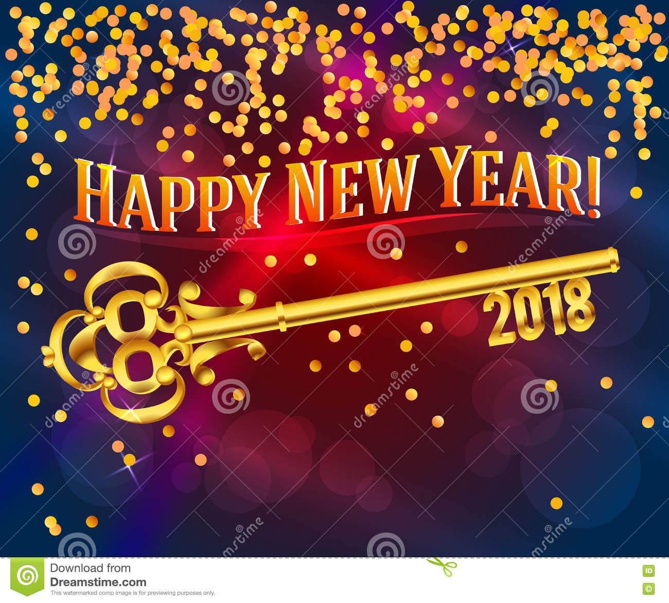 happy new year 2018 card key