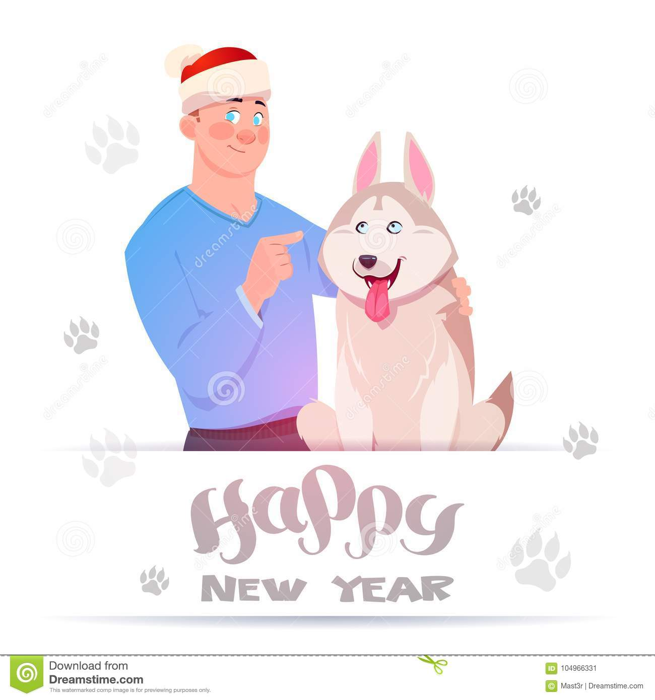 Happy New Year Card With Man In Santa Hat Embracing Cute Husky Dog